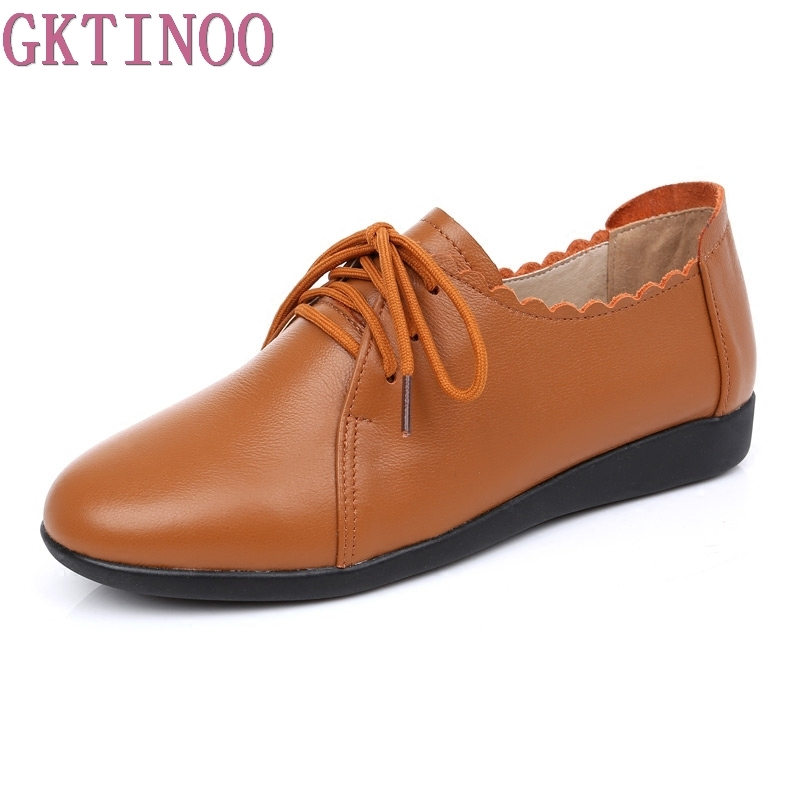 GKTINOO Spring Women Flats Genuine Leather Fashion Women Casual Comfortable Shoes Solid Lace-Up Shoes Female Ladies Footwear gktinoo fashion handmade women genuine leather shoes hollow breathable summer spring flats ladies flats shoes casual shoes