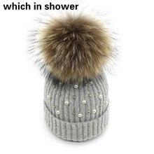 Fashion Pearl Winter Hat For Women Girl Real Raccoon Fur Pom