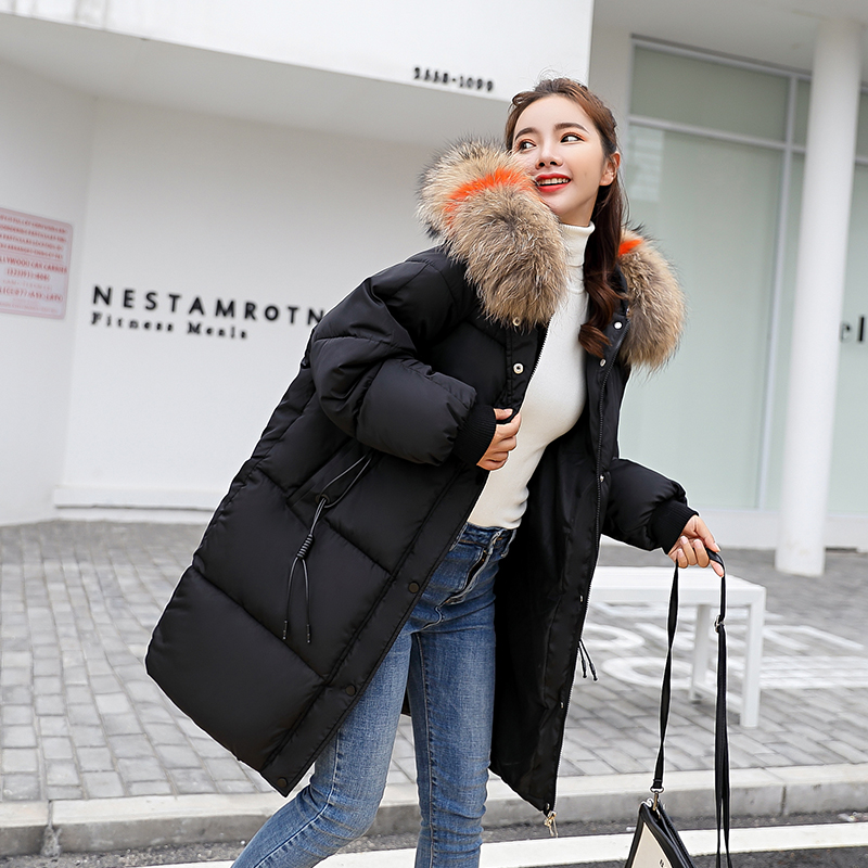 KUYOMENS Big fur winter coat thickened parka women stitching slim long winter coat down cotton ladies down parka down jacket