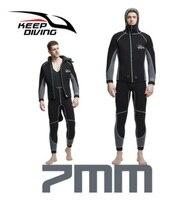 Держать Дайвинг 7 мм Для мужчин Скуба водные виды спорта гидрокостюм Новое поступление цельный Плавание серфинг зима теплая неопрена подво