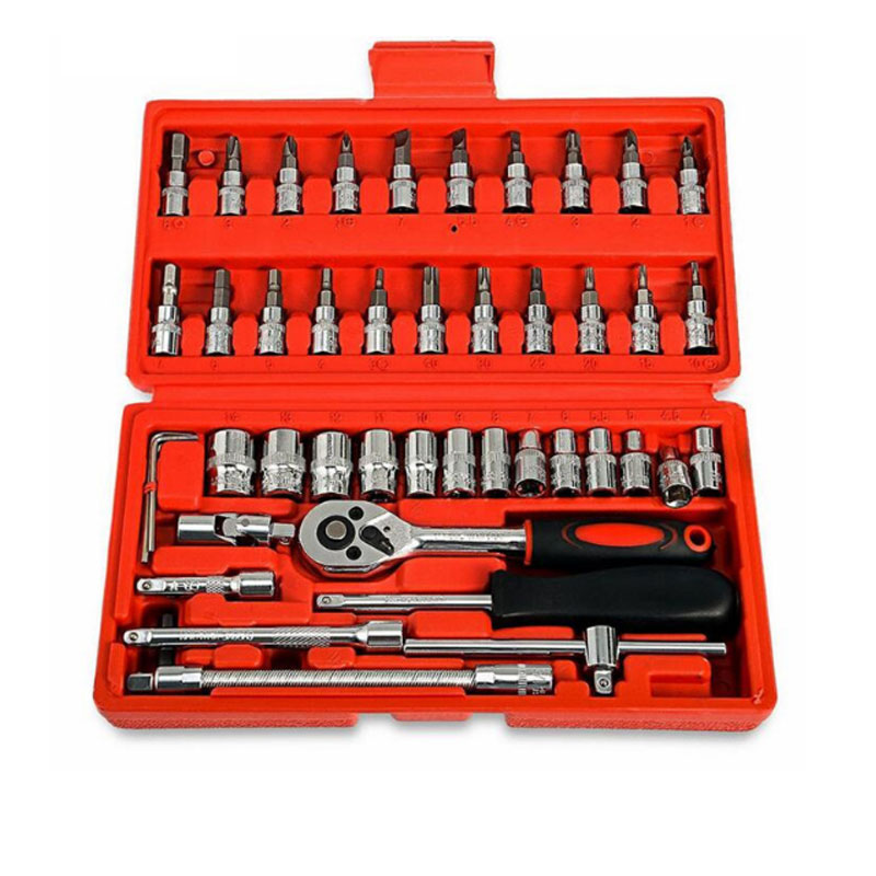 Portable 46Pcs Spanner Socket Set 1/4 Inch Screwdriver Ratchet Wrench Set Kit Car Repair Tools Combination Repair Hand Tool