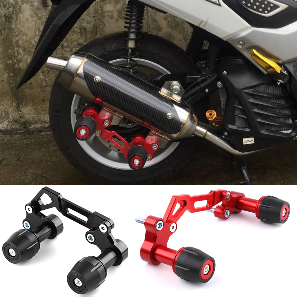 Universal Motorcycle Adjustable Exhaust Pipe Sliders Falling Protector for Yamaha NVX NMAX 155 XMAX 300 PCX 125 Forza Lexi-in Falling Protection from Automobiles & Motorcycles    1