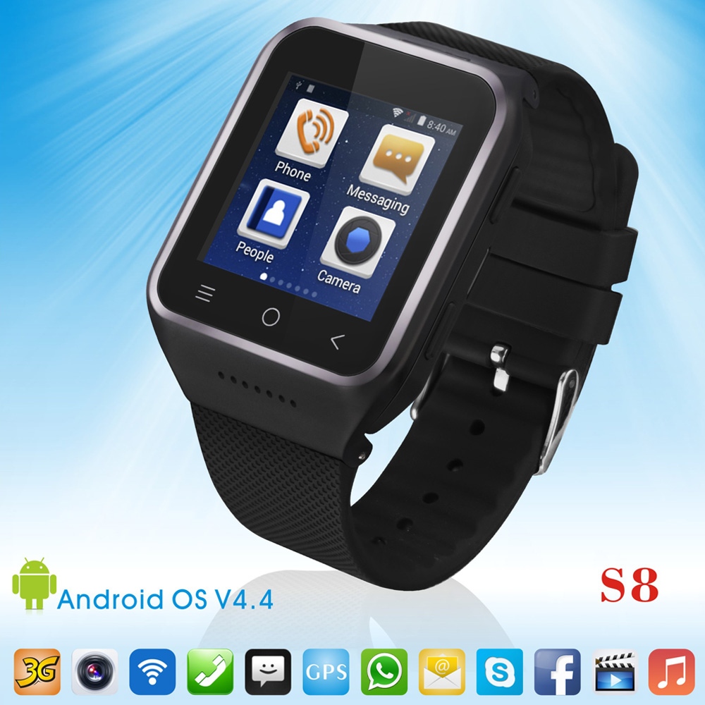 ФОТО ZGPAX Android 4.4 Dual Core Smartwatch Support GSM 3G WCDMA Wifi Camera GPS Simcard Bluetooth 4.0 Smart Watch Mobile Phone Watch