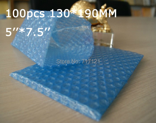 """100 pcs blue color  inflatable plastic air anti-static bubble bag for wine bottles 5"""" x 7.5""""_130*190mm free shipping"""