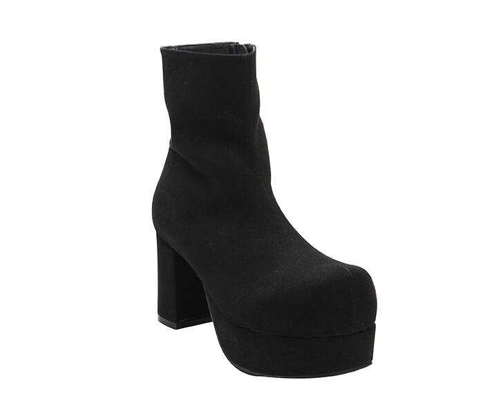 Lolita Señora Princesa Partido Chica Mujer Flock Tacones Rebaño Mori Botines 8 Cm Mujeres Impresión Black Zapatos Vestido Angelical Motocicleta Bombas YSwFqF