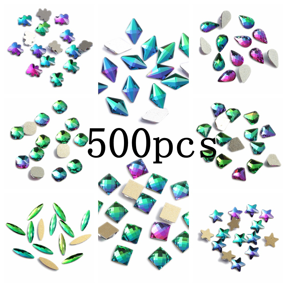 Nail Gems 500pcs Rainbow Glass Rhinestone For Nail Art Decorations Flatback Nail Stickers DIY Craft Art Charm Stones 100pcs diy nail rhinestones for nails 3d nail art crystals gems charms decorations flatback drop glass strass stone jewelry ab