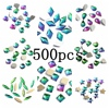 Nail Gems 500pcs Rainbow Glass Rhinestone For Nail Art Decorations Flatback Nail Stickers DIY Craft Art