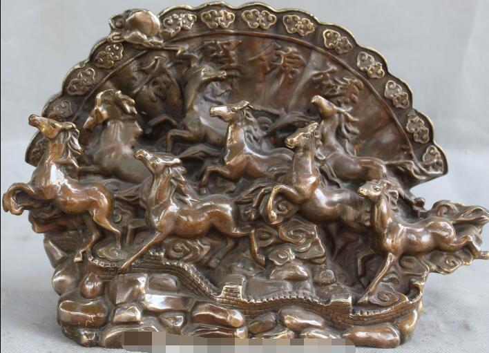 Free Shipping S01404 Chinese Fengshui Bronze Tang Dynasty Zodiac Year 8 Horse Folding screen Statue