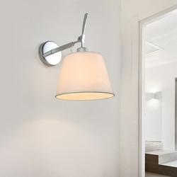 Nowoczesny nocna kinkiet E27 uchwyt tkaniny abażur wspornik ze stali nierdzewnej do pielęgnacji oczu LED do montażu na ścianie światło do czytania w Wewnętrzne kinkiety LED od Lampy i oświetlenie na