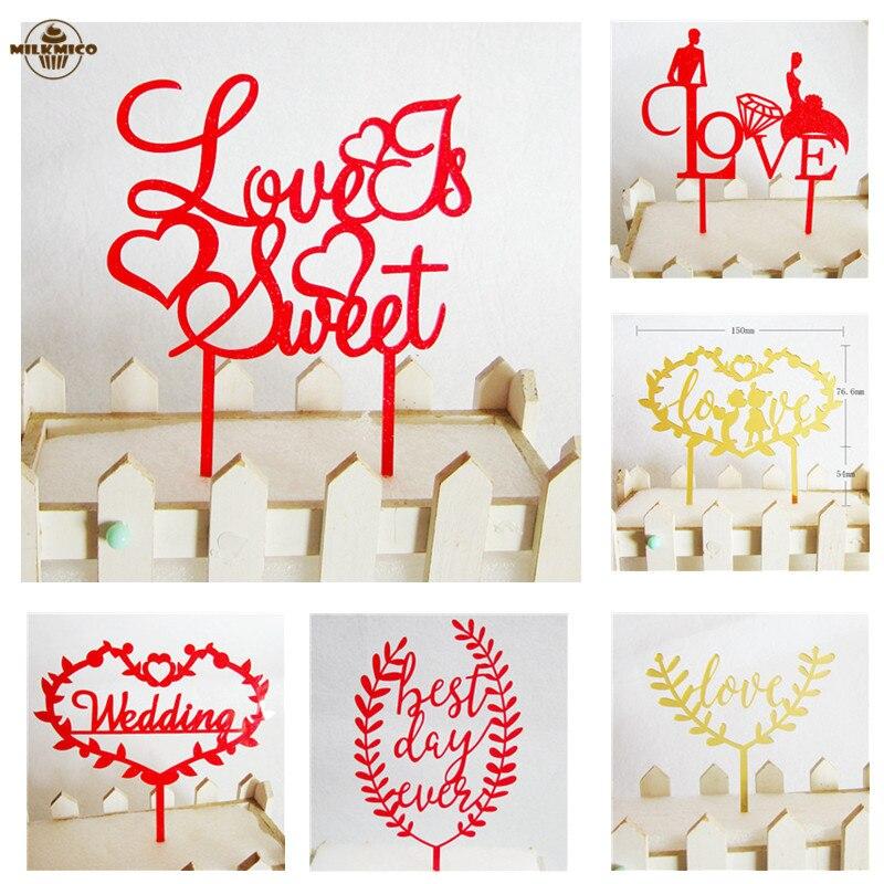 Akrylowe List Miłosny Tort Czerwone Złoto Spersonalizowane Diy ślub