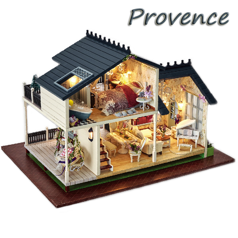 Симпатичный номер DIY кукольный домик Миниатюрная модель с 3D мебели светодиодный свет ручной деревянный дом Игрушечные лошадки подарки на д...