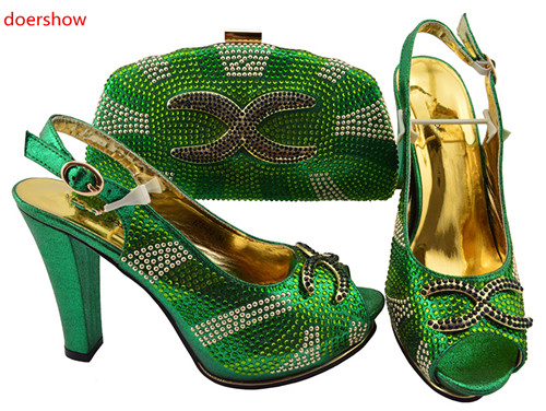 doershow nice green Shoe And Bag Set African Wedding Shoe And Bag Sets Italy Women Shoe And Bag To Match For party SJZS1-7 doershow italian shoe with matching bag fashion lattice pattern italy shoe and bag to match african women shoes party hjj1 34