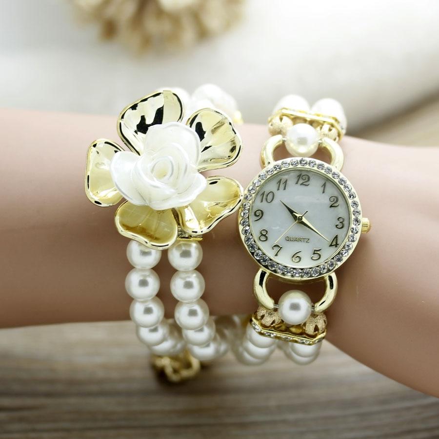 shsby New Fashion Women dress Zegarki Ladies pearl chain biały kwiat - Zegarki damskie - Zdjęcie 5