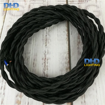 25meters/pack black coloer twisted fabric 2*0.75 copper pendant lamp wire