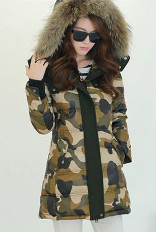 2014 winter women raccoon fur collar white duck down parkas European fashion camouflage coat slim thick zipper overcoat E781