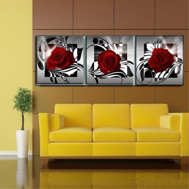 3 Pieces Flower Painting Red Rose Canvas Prints Classical Painting ...