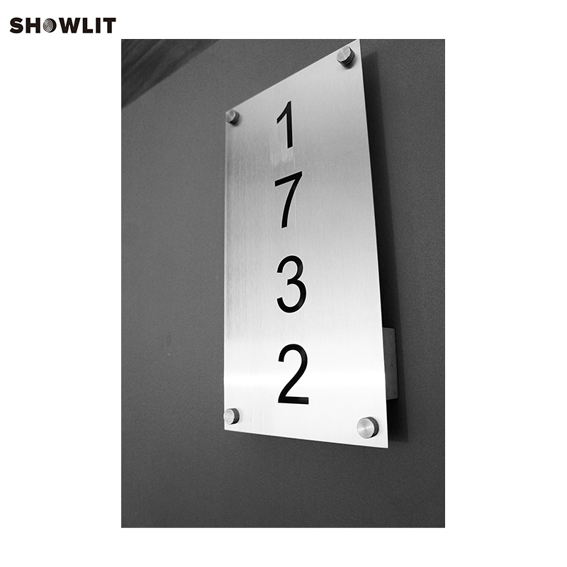 HOUSE NUMBERS VERTICAL MODERN ADDRESS PLAQUE CUSTOM MADE office sign custom made 2 tile address plaque in grey