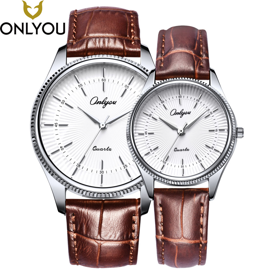 ONLYOU Lovers Watches Women Fashion Sun Pattern Dial Wristwatch Men Genuine Leather Strap Watch Gift For Ladies Wholesale ladies women s fashion style casual watch leather round wristwatch heart love pattern dial with pink white black yellow relogio