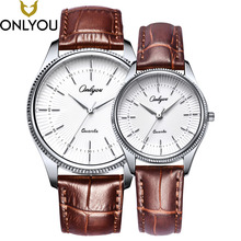 ONLYOU Lovers Watches Women Fashion Sun Pattern Dial Wristwatch Men Genuine Leather Strap Watch Gift For Ladies Wholesale