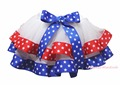 4th July White Blue Red Star Trimmed Tutu Dance Baby Girl Skirt NB-8Year