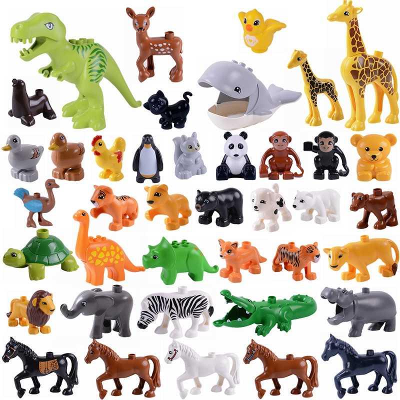 Duplo Animais Panda Macaco Elephant Tiger Dinossauro Legoings Animais Duplo Bloqueio Duplo Blocos de Construção Brinquedos para Crianças CRIANÇAS Brinquedos