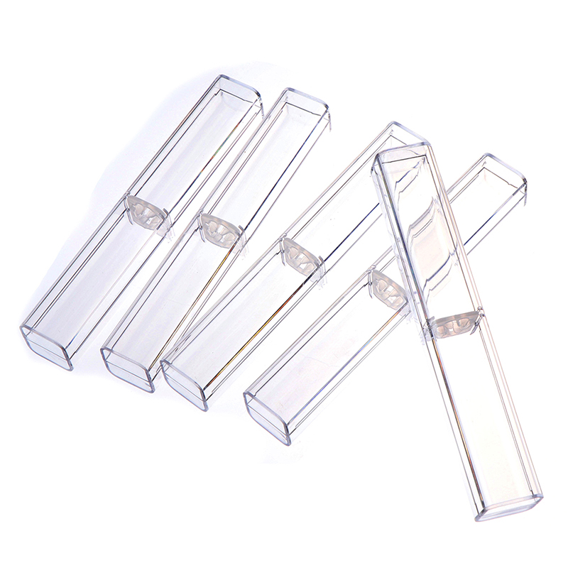 1pc Pen Boxes Plastic Transparent Case Pen Holder Gift Crystal Pen Packaging Boxes Stationery School Office Gifts