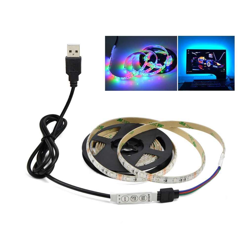 ТВ подсветка RGB кухонный светильник лампа 5 в USB порт 1 м 2 м 3 м 4 м 5 м 60 светодиодный/м Светодиодная подсветка под шкаф кухонный шкаф Настольный Декор лампа