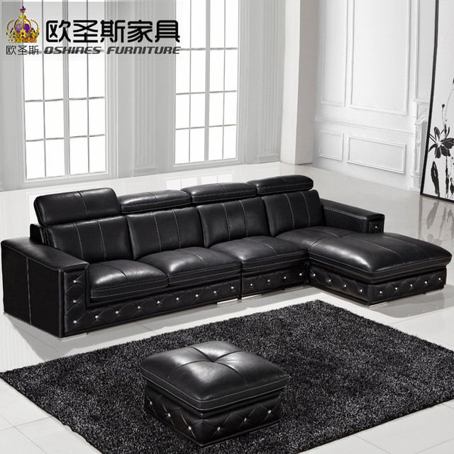 l shaped black leather sofa set sofas richmond va buy online latest designs 2016 modern corner germany with adjustable backrest f36