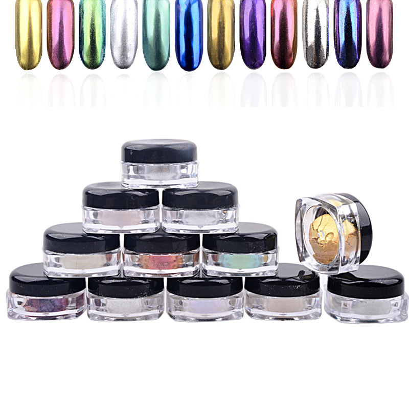 Nya 12st / set Shinning Magic Spegel Pulver Damm Nagel Glitter DIY - Nagel konst