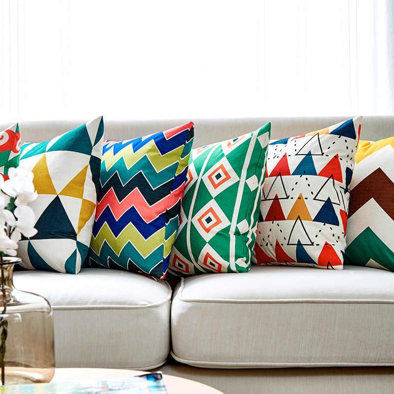 Наволочка с геометрическим рисунком, наволочка для подушки 45x45 см, декоративное белье для дивана, подушки для гостиной, домашний декор в скандинавском стиле