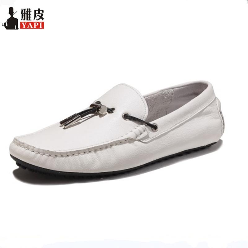 Spring Summer Top Genuine Leather Mens Tassel Loafers Driving Car Casual Shoes Business Man Slip On Leather Shoes