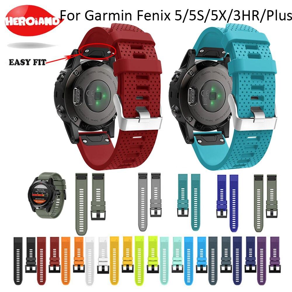 26 22 20mm de liberación rápida fácil ajuste de reloj de silicona muñeca correa de banda para Garmin Fenix 5 Garmin Fenix 5X5X5 5S/3 3HR S60 D2 Mk1 reloj inteligente