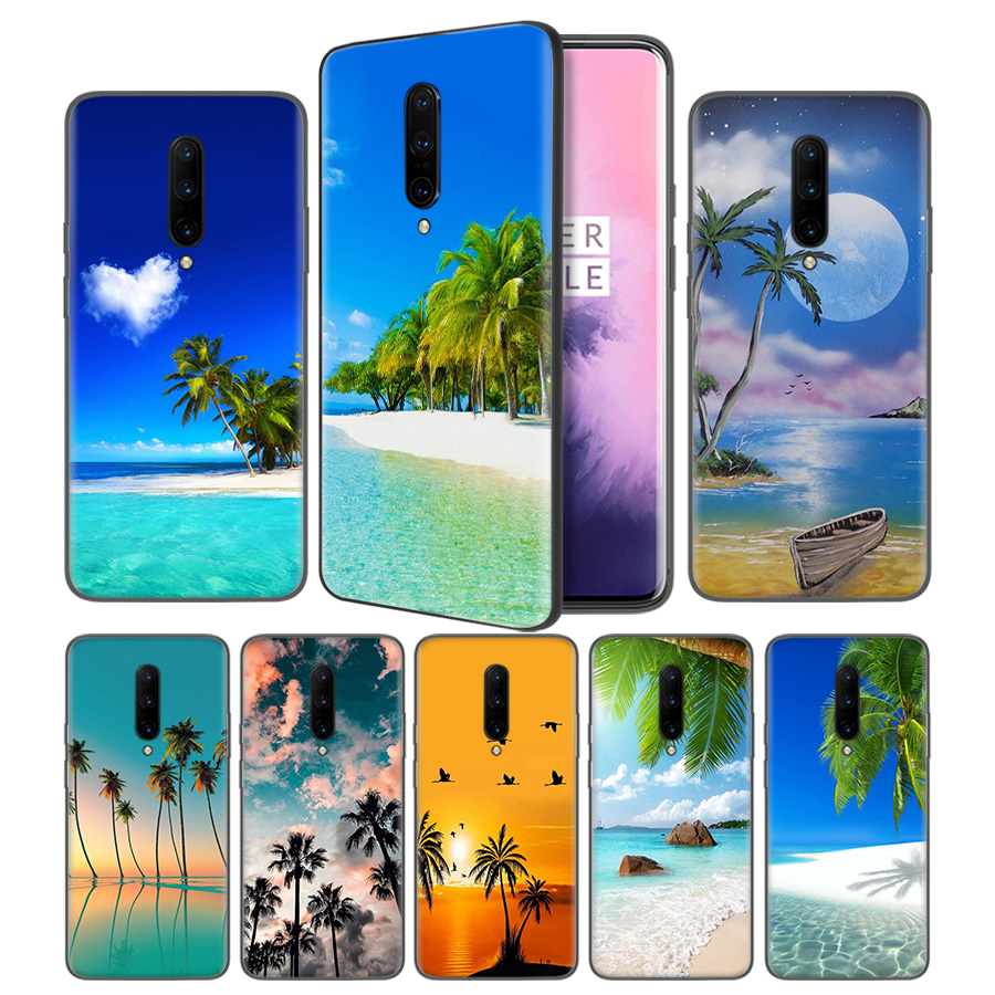 Sea Tropical palm trees seaside BeaSoft Black Silicone Case Cover for font b OnePlus b font