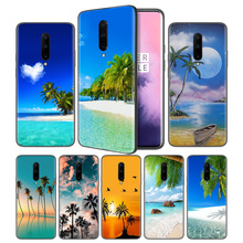 Sea Tropical palm trees seaside BeaSoft Black Silicone Case Cover for OnePlus 6 6T 7 Pro 5G Ultra-thin TPU Phone Back Protective