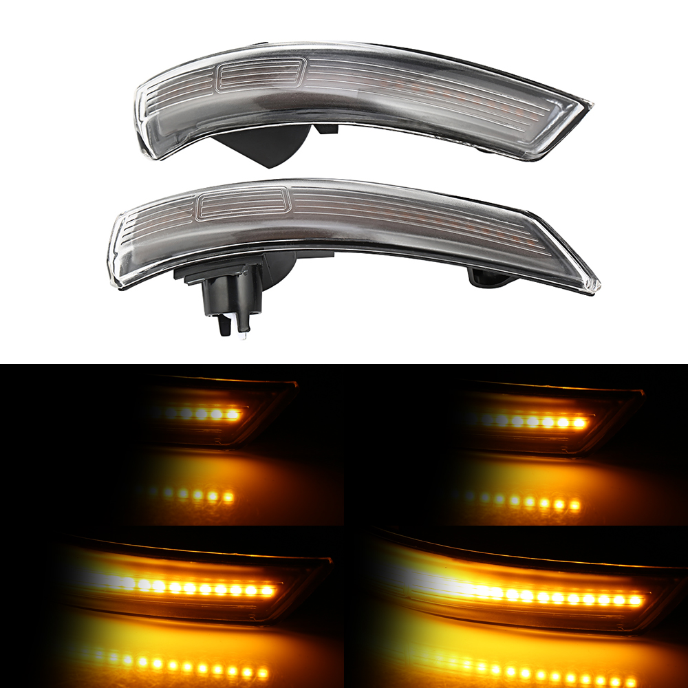 2 pieces dinâmico turn signal light led asa lateral espelho retrovisor indicador blinker repetidor luz para ford focus 2012-2018