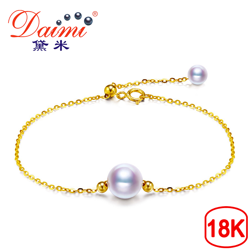 DAIMI Akoya Peal Bracelet G18k Yellow Gold Chain 5.5-8mm White Round pearl Top Quality for Women Free Shipping