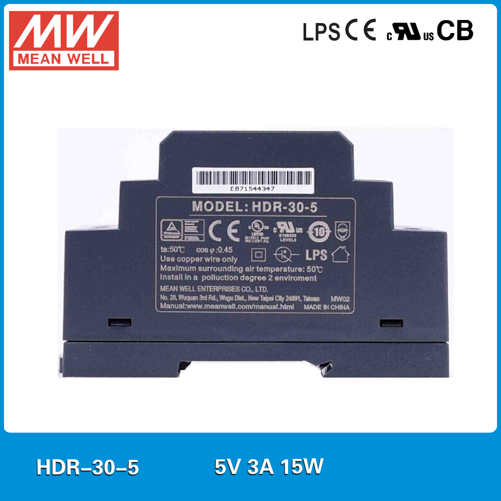 Original MEAN WELL HDR-30-5 3A 5V 15W meanwell step shape DIN Rail Power Supply mini slim size power source 5V original mean well hdr 100 24 3 83a 24v 92w meanwell ultra slim step shape din rail power supply dc output adjustable
