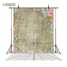 Laeacco Flowers Leaves Old Wall Linen Wooden Floor Pet Photography Backgrounds Customized Backdrops For Photo Studio