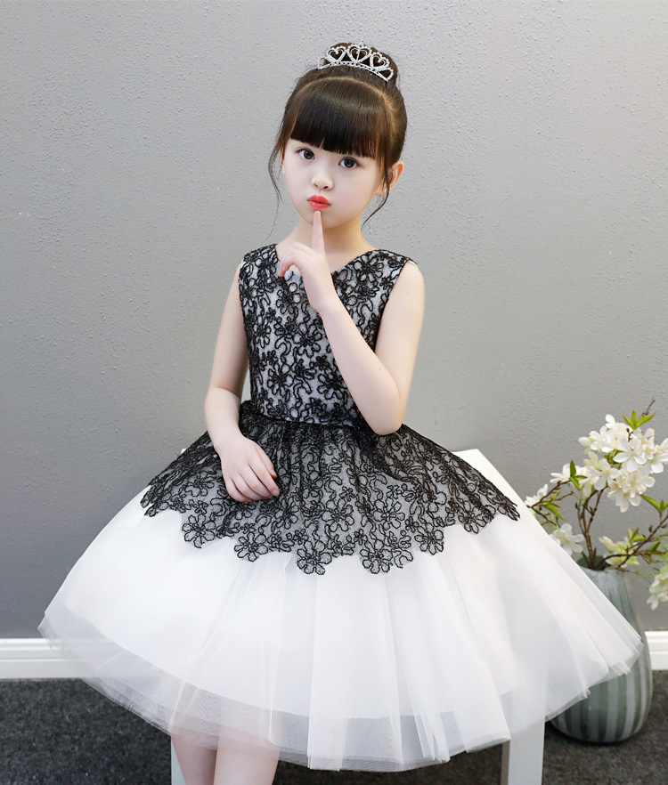 Cute Whiteblack Jewel Knee Flower Girl Dresses Girls Pageant