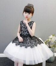 Симпатичные Белый/черный Jewel колено Платья для девочек на свадьбу для девочек Нарядные платья на день рождения платье принцессы индивидуальный заказ размеры 2–14 F18330