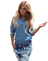 2016 Newest Autumn Shirt Blusas Fashion Women Europe Style Casual Blouse Top Long Sleeve Blue Lapel