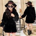 2016 Girls Winter Faux Fur Fleece Girls' Coats Kids Warm Jacket Children Snowsuit Outerwear Dress Style Jacket Free Shipping