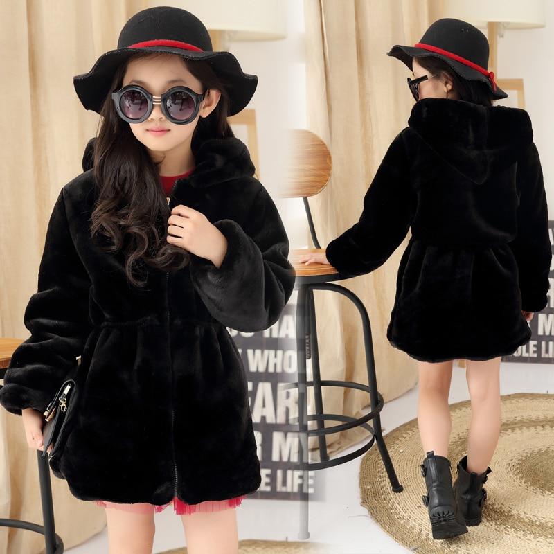 2017 Girls Winter Faux Fur Fleece Girls' Coats Kids Warm Jacket Children Snowsuit Outerwear Dress Style Jacket Free Shipping