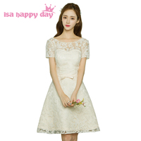 classy lace knee length womens special occasion dresses champagne short modest for prom party dress with short sleeves H3706