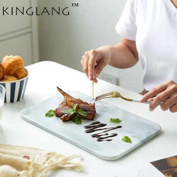 KINGLANG 2 - ขนาดเซรามิค Nordic สไตล์ Marbled แผ่นอบถาดซูชิจานบนโต๊ะอาหาร - DISCOUNT ITEM  50% OFF บ้านและสวน
