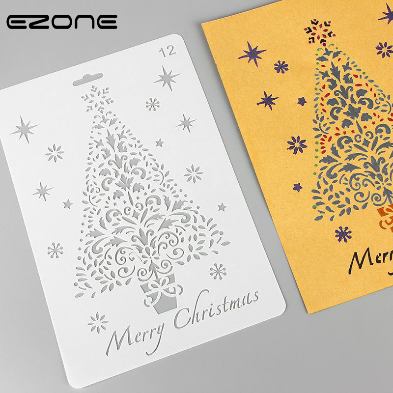 EZONE Painting Template For Christmas Elk/Christmas Tree/Santa Claus/Snowflake Pattern Creative Stationery Supply Happy New Year