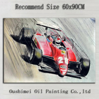 Top Artist Hand painted F1 Car Racing Oil Painting On Canvas Abstract F1 Racing Decorative Canvas Painting For Living Room