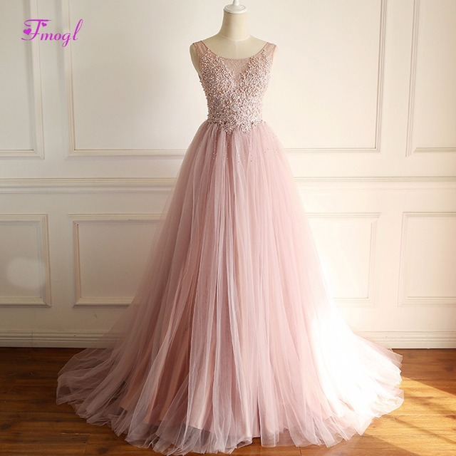 Fmogl Designer Scoop Neck Lace Appliques Bohemian Wedding Dresses 2018  Luxury Beaded Pearls A-Line Wedding Gown Vestido de Noiva 730cafbbea6a