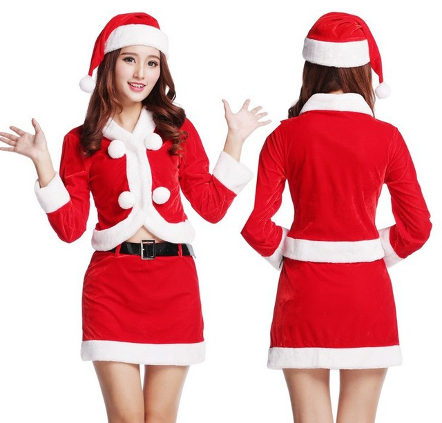 US $42.0 |Christmas Top + Skirt + Hat Christmas Three Set Uniform  Temptation Sexy Dating Gentle Red Elf Ball Ovo Service Jacket Women 2016-in  Basic ...