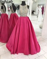 XingPuLanEr A Line Scoop Neck Sleeveless Silver Beaded Crystals Top Hot Pink Satin Long Evening Dress robe de mariee Prom Gowns